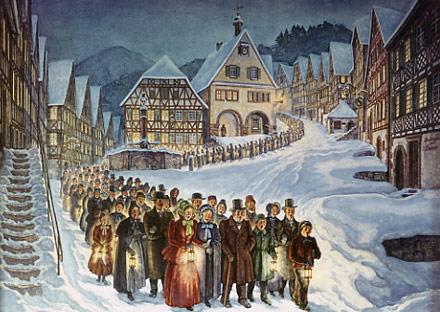 Historisches Gemälde: Bürger beim Silvesterzug