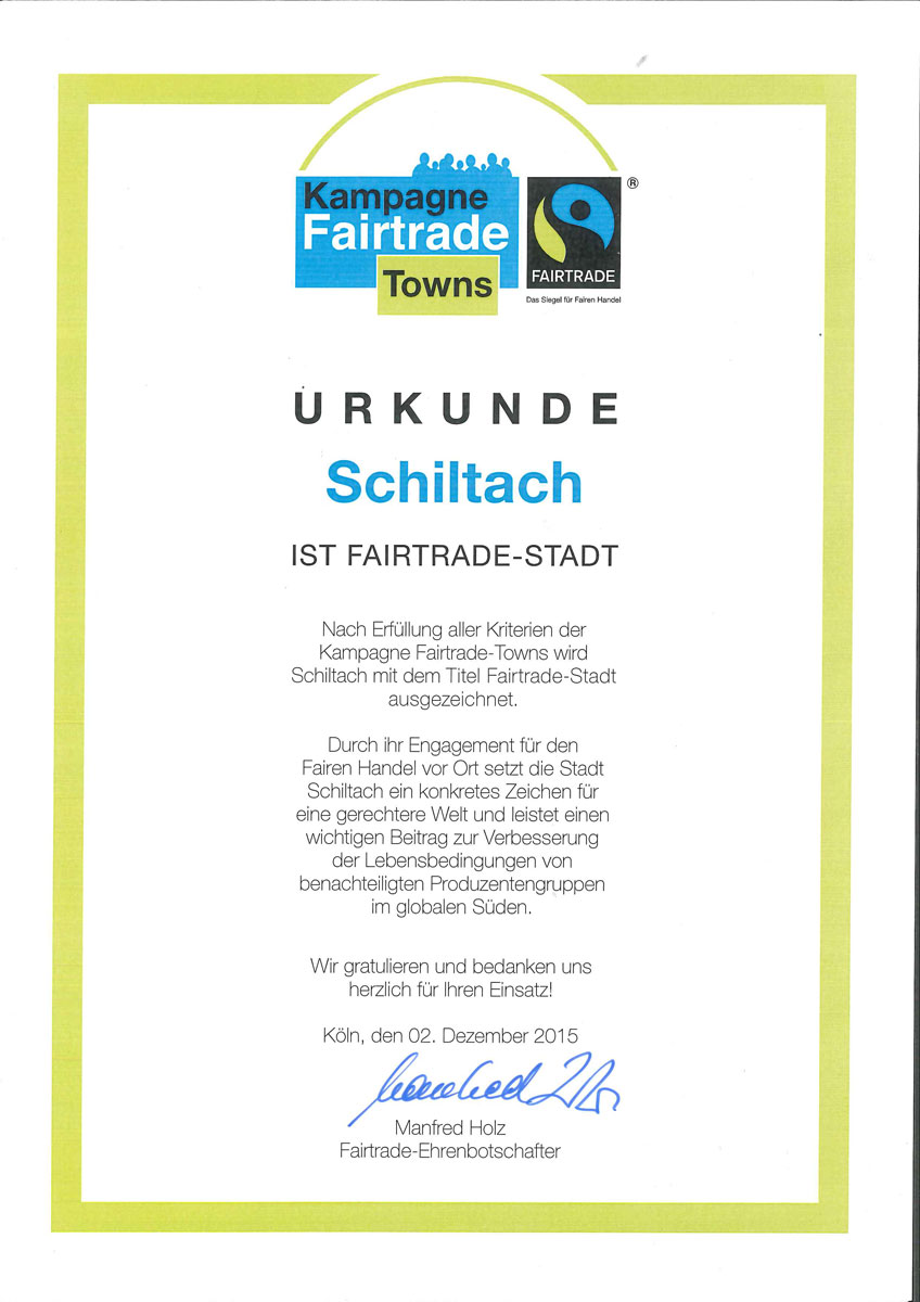 Fairtrade-Urkunde