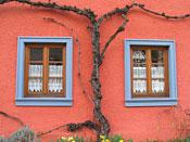 Rotes Haus mit blauen Fenstern