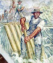 Historisches Gemälde zeigt Männer bei einer Floßfahrt