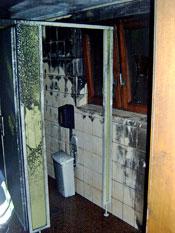 Die brandgeschädigte Toilette