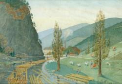 Floßeinbinden auf der Kinzig am Hohenstein, Aquarell von Heinrich Eyth (1863/1923), © Schiltacher Flößer