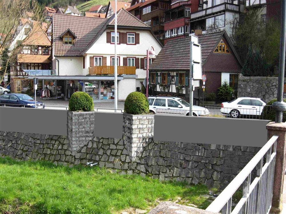 Hochwasserschutz - Bachmauer an der Kinzig