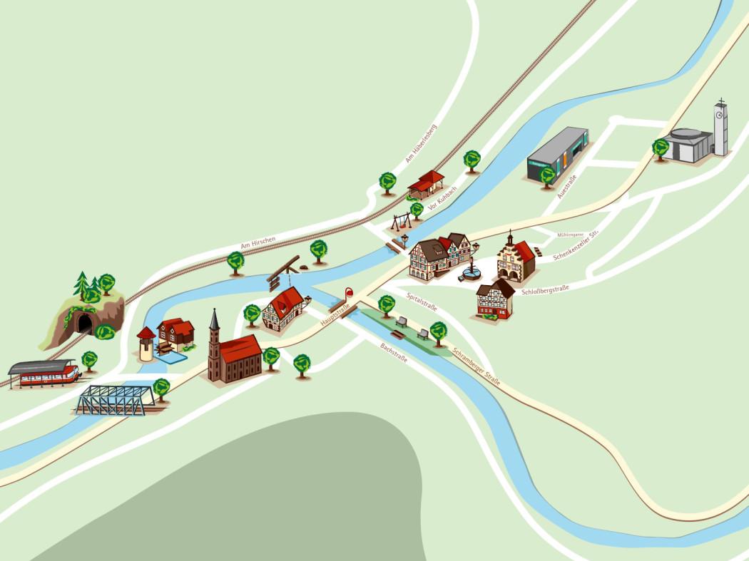 Einfacher Stadtplan mit 3D Elementen