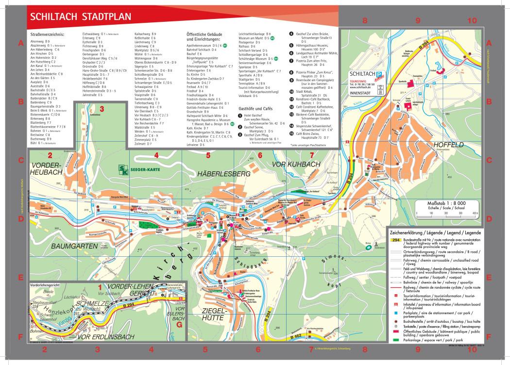 Stadtplan Schiltach mit Straßenverzeichnis und Einrichtungen