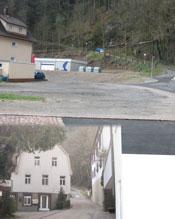 Vor und nach dem Abbruch des Hauses