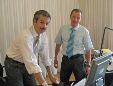 Bürgermeister Thomas Haas und Jürgen Haberer
