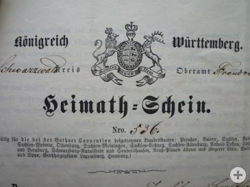 Württembergischer Heimatschein